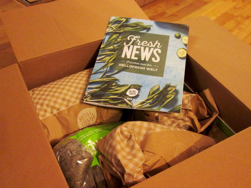 Hello-Fresh-Paket nach dem Öffnen