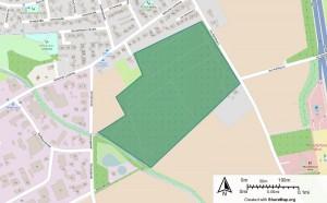 Markierte Fläche in Kartenausschnitt für den Hunde-Wald Rohrbusch Roxel
