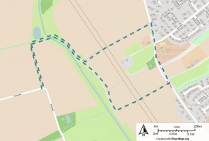 Karte mit Track-Darstellung des Spaziergangs  an der Aa zwischen Roxel und Gievenbeck