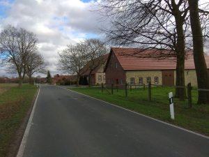 Wanderung Billerbeck - Baumberge, Roxel. 2. März 2020: Gehöft in den Baumbergen