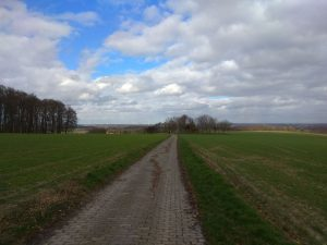 Wanderung Billerbeck - Baumberge, Roxel. 2. März 2020: Blick von der Bruder-Klaus-Kapelle auf Havixbeck