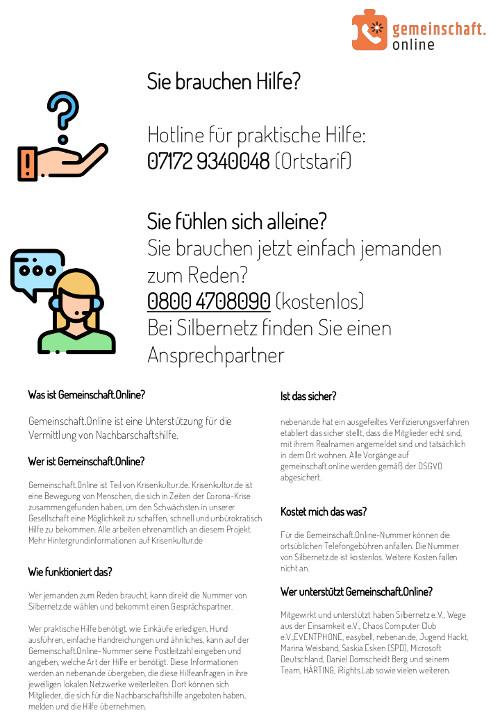 Infoflyer von gemeinschaft.online zur Coronavirus-Hilfe