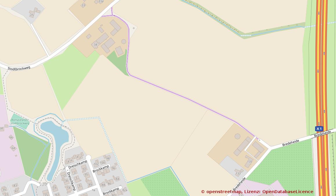 Kartenausschnitt Roxel: Verbindung Stodtbrockweg - Bredeheide, Roxel (Quelle: openstreetmap.de)
