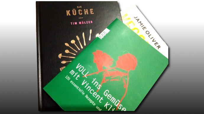 Kochbücher von Vincent Klink, Jamie Oliver und Tim Mälzer
