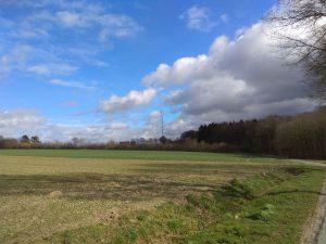 Wanderung Billerbeck - Baumberge, Roxel. 2. März 2020: Blick auf den WDR-Fernsehturm Baumberge