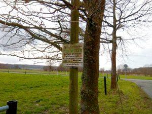 Wanderung Billerbeck - Baumberge, Roxel. 2. März 2020: Hinweisschild zum Landgasthaus Overwaul
